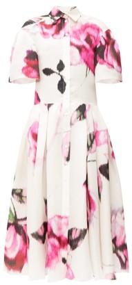 Carolina Herrera Rose-print Silk-gazar Midi Shirt Dress - Womens - Pink White