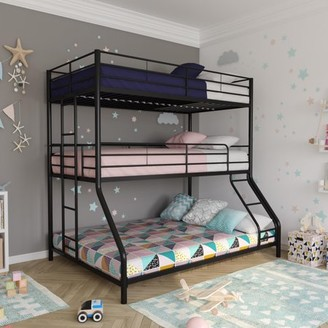 DHP Metal Triple Bunk Bed, Twin/Twin/Full, Black