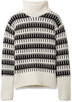 Theory Wyndora Intarsia Wool And Cashmere-blend Turtleneck Sweater - Ivory