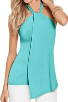 Pink Wind PinkWind Women's Girls Sleeveless Hi Lo Irregular Hem Tank Tops Shirt Turquoise S