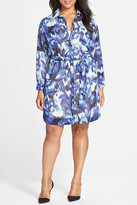 Eliza J Print Pocket Shirtdress (Plus Size)
