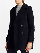 John Lewis Relaxed Double Breasted Pea Coat, Navy