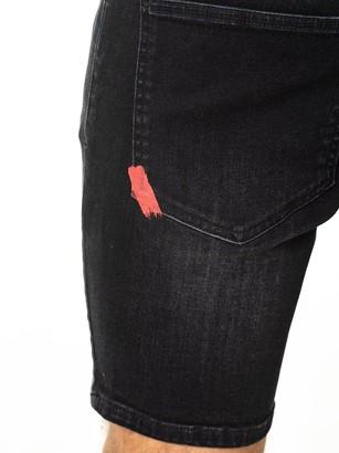 11 Degrees Rip & Repair Skinny Fit Denim Shorts - Black