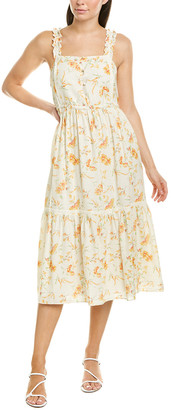 LoveShackFancy Ann Linen-Blend Midi Dress
