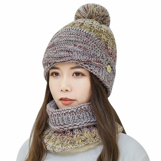 ITODA 3 in 1 Women Winter Warm Beanie Hat Knitted Hat with Circle Scarf with Neck Warmer Thick Crochet Skiing Hat Ear Cuff Hat Pom Pom Knit Cap Skull Slouchy Cap Sets for Outdoor Sports Beige