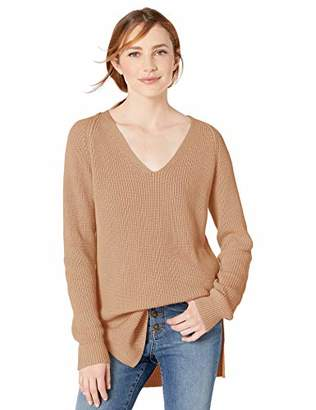 Goodthreads Cotton Half-Cardigan Stitch Deep V-Neck Sweater Pullover,Medium