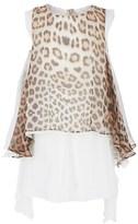 Roberto Cavalli Leopard Print Waterfall Silk Dress
