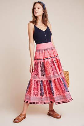 Blooming Print Auberte Poplin Tiered Midi Skirt