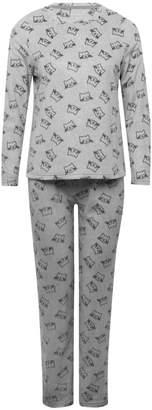 M&Co Cat print fleece pyjama set