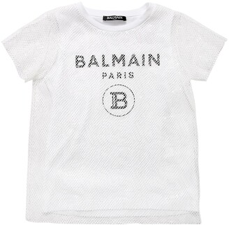 Balmain Layered Logo Jersey & Mesh T-shirt