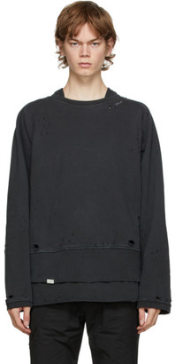 C2H4 Grey Distressed Layered Sweatshirt