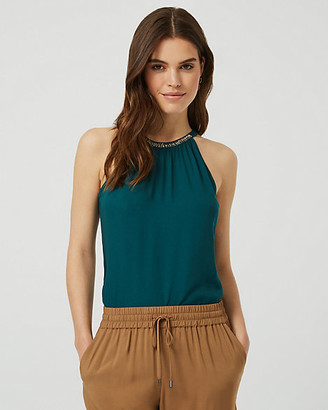 Le Château Beaded Sleeveless Halter Blouse