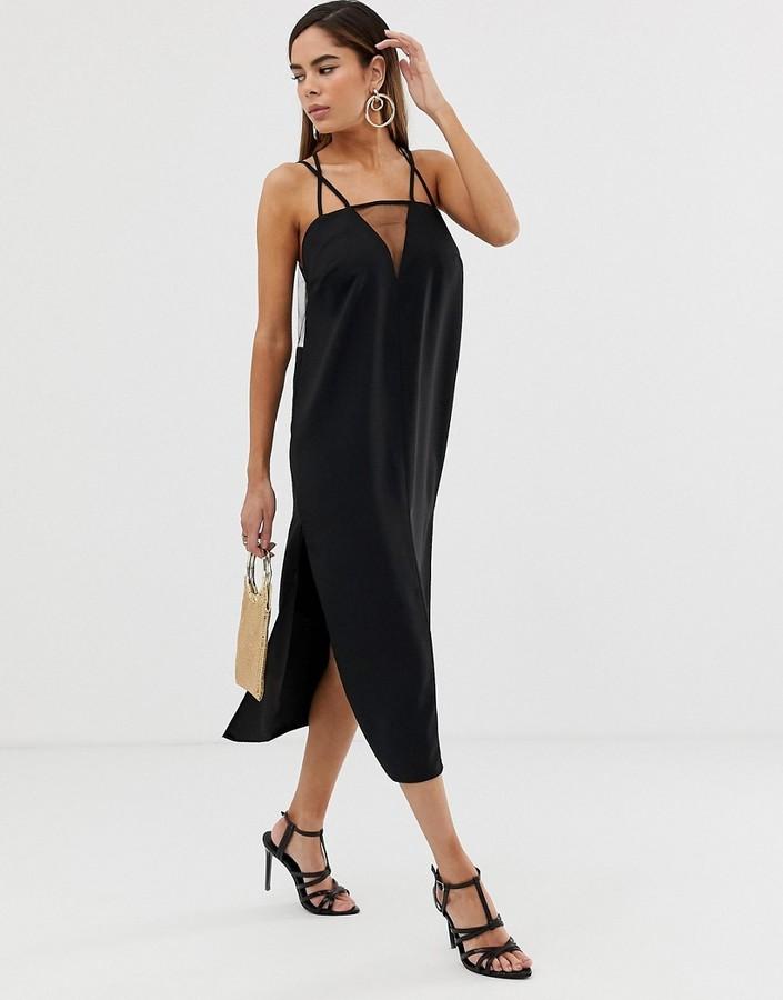 Asos Design DESIGN sheer detail sleeveless midi dress-Black