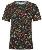 Topman Black Floral Print Stretch Slim Fit T-Shirt