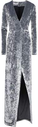 Galvan Cloud Wrap-effect Crushed-velvet Gown