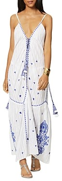 Ramy Brook Taryn Cotton Embroidered Swim Cover Up Maxi Dress