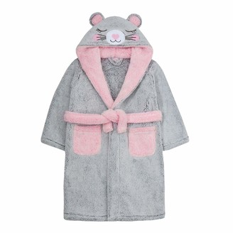 Lora Dora Girls Novelty 3D Mouse Hooded Fleece Dressing Gown 13 Years Grey