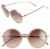 Linda Farrow Women's 51Mm Round 18 Karat Rose Gold Sunglasses - Iris/ Grey Grad