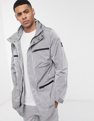 Calvin Klein four pocket field jacket in reflective silver