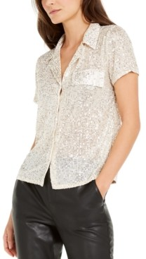 INC International Concepts Inc Petite Sequined Utility Shirt, Created for Macy's