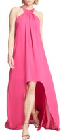 Halston High/Low Crepe Trapeze Gown