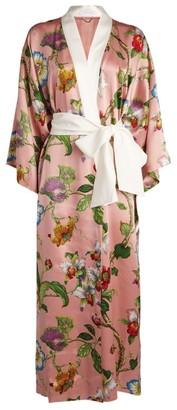 Olivia von Halle Silk Queenie Floral Print Robe