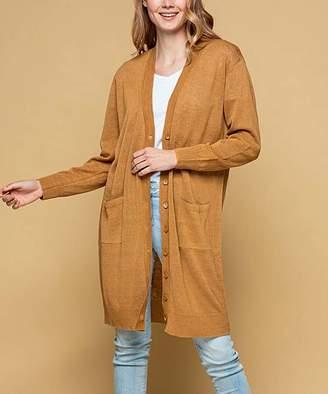 Desfios Women's Cardigans CARAMEL - Caramel Pocket Linen-Blend Button-Up Duster - Women