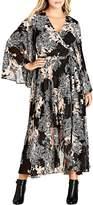 City Chic Shadow Floral Print Maxi Wrap Dress