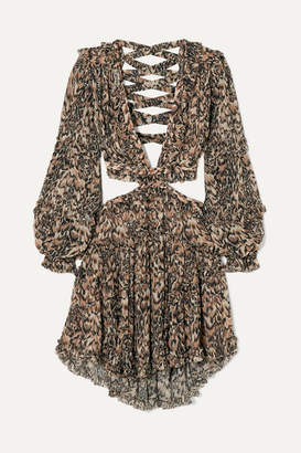 Zimmermann Eyes On Summer Cutout Leopard-print Cotton And Silk-blend Chiffon Dress - Leopard print