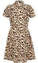 River Island Girls brown ruffle leopard print dress