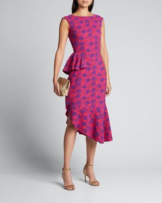 Chiara Boni Printed High-Neck Sleeveless Asymmetric Flounce Dress