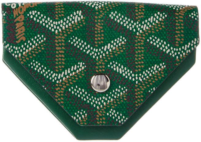 Goyard Green Goyardine Canvas & Leather Triangle Coin Pouch