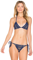 Beach Bunny Hard Summer Triangle Top in Navy. - size L (also in S)