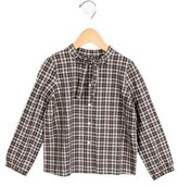 Bonpoint Girls' Plaid Bow-Accented Top