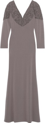 Badgley Mischka Embellished Tulle-paneled Ponte Gown