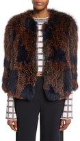 Derek Lam 10 Crosby Patterned Fox Fur Coat, Midnight/Multicolor