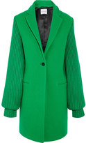 Mira Mikati Ask Me Later Embroidered Wool-blend Coat - Bright green