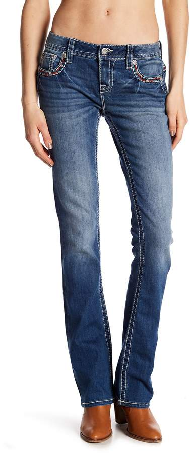 Miss Me Embroidered Mid Rise Slim Bootcut Jeans