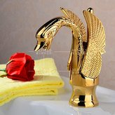 Sink tap JinRou Modern fashion bathroom sink faucet European copper electroplating gold mirror carved Swan faucets