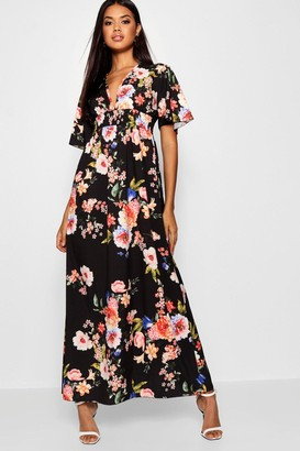 boohoo Cap Sleeve Shirred Waist Floral Maxi Dress