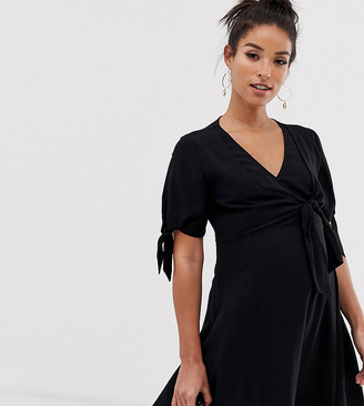 ASOS DESIGN Maternity double wrap front mini skater dress with tie sleeves