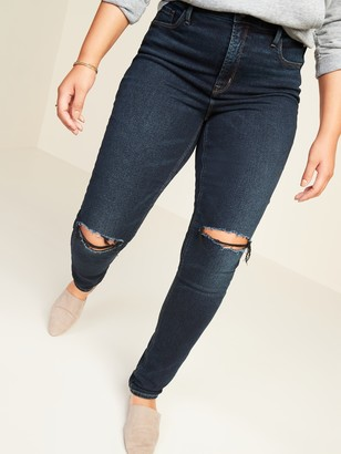 Old Navy High-Waisted Ripped Dark-Wash Rockstar Super Skinny Jeans for Women