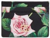 Dolce & Gabbana Tropical Rose-print Grained-leather Cardholder - Womens - Black Multi