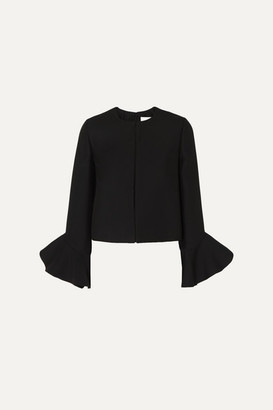 Valentino Ruffled Wool And Silk-blend Jacket - Black