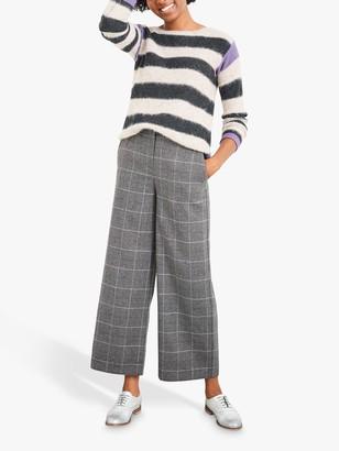 White Stuff Winona Wide Leg Check Trousers, Grey/Multi