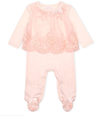 Biscotti Girls' Footies PEACH - Peach Embroidered Mesh Footie - Infant