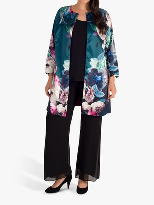 Chesca Oversized Floral Jacket, Green/Multi