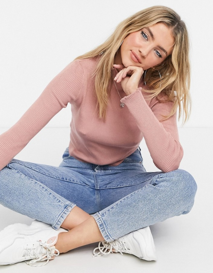 Thumbnail for your product : Pimkie roll neck jumper in pink