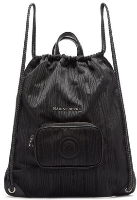 Marine Serre Leather-trimmed Moire Drawstring Backpack - Black