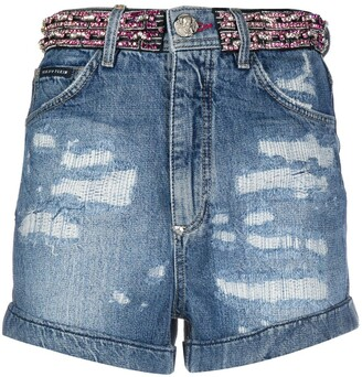 Philipp Plein Rhinestone-Embellished Denim Shorts